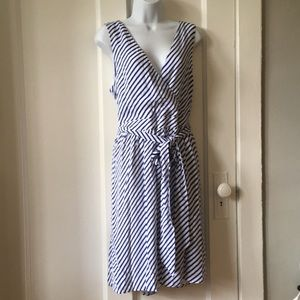 Blue and white stripped dress from loft size 14